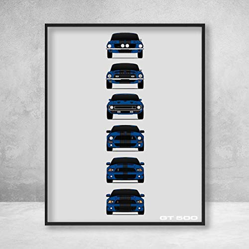 Shelby Mustang GT500 Generations Poster Print Wall Art of the History and Evolution of the Ford Shelby GT500 (Blue Car, Black Stripes)