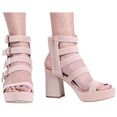 HIGH Heel Ladies Peeptoe Sandal CORE Strappy Block Suede Size Platform COLLECTION Womens Beige 8 Shoes New 3 xqHYFTI