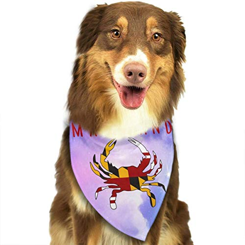 FFR EGM HAQSK CUFD Eco-Friendly Maryland State Flag Crab Dog Bandana Collars Triangle Neckerchief Bibs Scarfs Accessories Pet Cats and Baby Puppies Saliva Towel,Soft Head Scarfs Accessories Pet bib ()
