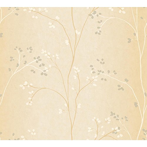 York Wallcoverings BR6227SMP Whisper Prints Vertical Blossoms Wallpaper Memo Sample, 8-Inch x 10-Inch, Bisque/White/Gold Pearl - Pearl Bisque