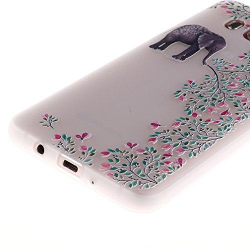 Funda Samsung Galaxy J5 2016 SM-J510F,XiaoXiMi Carcasa de Silicona TPU Suave y Esmerilada Funda Ligero Delgado Carcasa Anti Choque Durable Caja de Diseño Creativo - Tigre Flores de Elefante