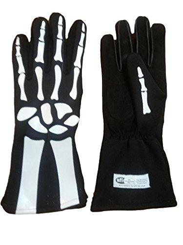 Cuircon - Auto Racing Nomex Skeleton Gloves - Black Glove with White Skeleton Print - Medium