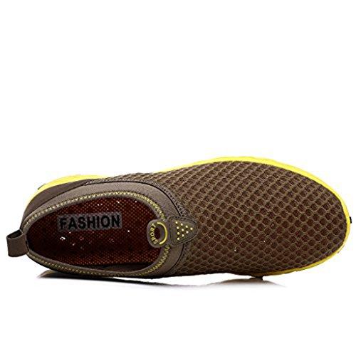 KRIMUS Womens Mens Water Shoes Lightweight Quick Dry Aqua Walking Shoes Brown qZUud2Q8