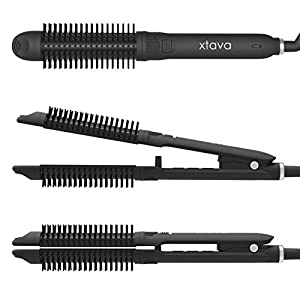 xtava Hotness 3-in-1 Styler - Professional Flat Iron Hot Round Brush and Hair Curling Wand Styling Tool - Includes 1 Inch Ceramic Tourmaline Plates Ionic Bristles 60 Min Auto Shut Off Storage Pouch