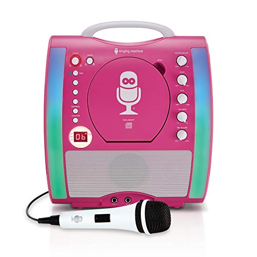 Singing Machine SML363P CD and Bluetooth Karaoke Machine with Mic and 3 CDG's,...