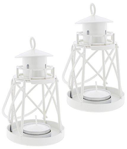 """Set of 2 Fashioncraft 5"""" White Metal Lighthouse Candle Holders with Tea Light Candles"""