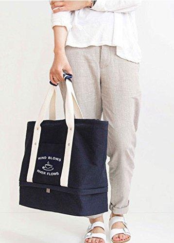 1 sac Organiseur tout plage Malirona sac fourre Bleu profond profond à tout 2 fourre Sac Canvas en à Sac chaussures avec Bleu Grand plage de la 8q5twr5T