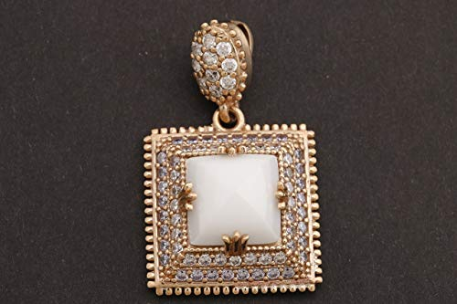 - Turkish Handmade Jewelry Square Shape White Onyx and Round Cut Topaz 925 Sterling Silver Pendant
