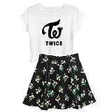 Aopostall Kpop Twice Sana Momo Nayeon Mina Shirt Top + Floral Skirt Set 2pcs Dress
