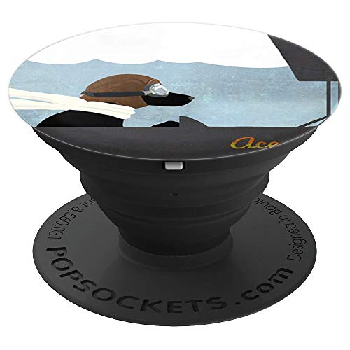 Black Labrador Stunt Pilot Biplane Flying Ace - PopSockets Grip and Stand for Phones and Tablets
