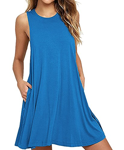 04634488fcec Camisunny Women Sleeveless Summer Casual Dresses Beach Cover Up Plain  Pleated Tank Dress Cotton - Buy Online in Oman.