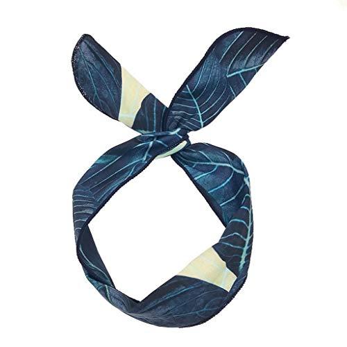 Tropical Style Banana Leaf DIY Head Bands Adjustable Hair Scarf Tie Headband Hair Bands Turban (Navy Blue,-)