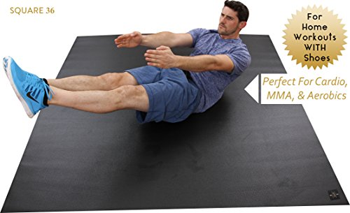 Large Exercise Mat 72'' Wide x 72'' Long (6'x6') x 6mm Thick. Comes With A Storage Bag and Storage Straps. Designed For Home-Based Fitness Routines. Durable Enough For Use With SHOES. Square36. by Square36 (Image #1)
