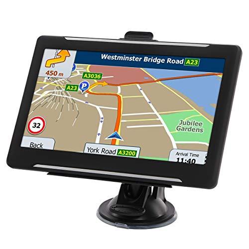GPS Navigation for car 7 Inches car GPS 2019 Updated North American Lifetime Free MapTouch Screen 8GB Memory Multi Language Spoken GPS Navigation System for Car Vehicle Truck Taxi Driving Alert