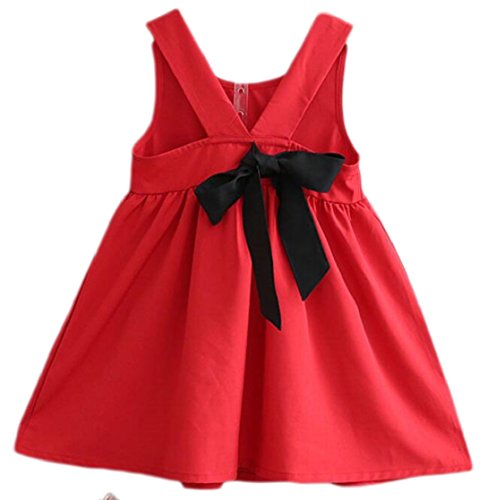 Yayu Little Girl Round Neck Casual Bow Backless Mini Dress Red 5T by Yayun
