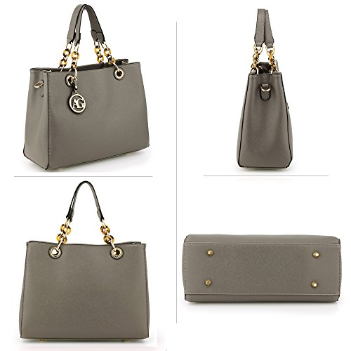 Faux 3 Bags Ladies Leather Womens Office Designer College Large Shoulder Handbags Grey Design xwqSPgI