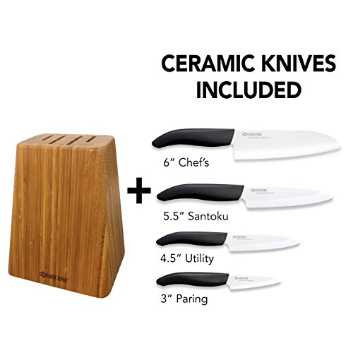Kyocera Bamboo Knife Block Set: includes 4-slot Bamboo Block and 4 Kyocera Advanced Ceramic Knives-FK-Black Handle/White Blade by Kyocera (Image #2)