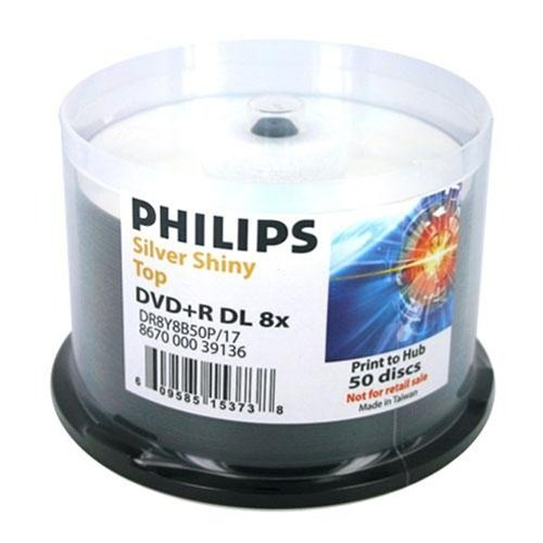 50 Philips Double Layer 8.5GB 8X DVD+R DL Shiny Silver by Philips
