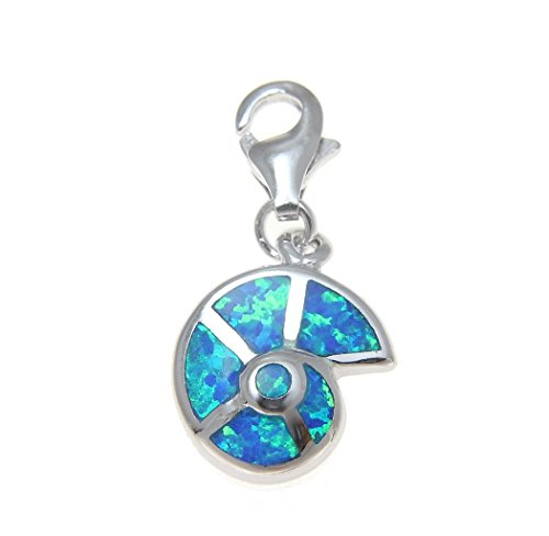Synthetic Opal Shell - 925 Sterling silver Hawaiian nautilus sea shell synthetic opal clasp enhancer pendant charm