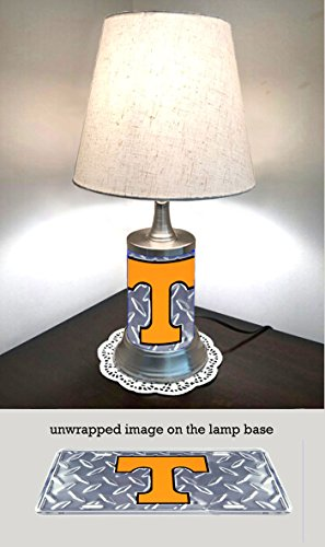 JS Table Lamp with Shade, Tennessee Volunteers Plate Rolled in on The lamp Base, Base Wrapped with Diamond Metal Plate