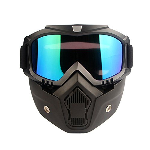 3935f339639 ECLEAR Colorful Motorcycle Goggles Face Mask Detachable Anti-Fog UV Protect  Padding Helmet Sunglasses for Harley Street Dirt Bike ATV Cruiser Snowmobile