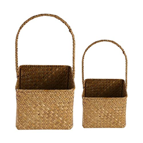 YCDC B 2 Pcs/Set, Square Seagrass Woven Flower Basket Home Decorative Flowerpot, Handmade Craft 2 Pcs/Set Square Seagrass Woven Flower Basket Household Sundries Storage Bag by YCDC