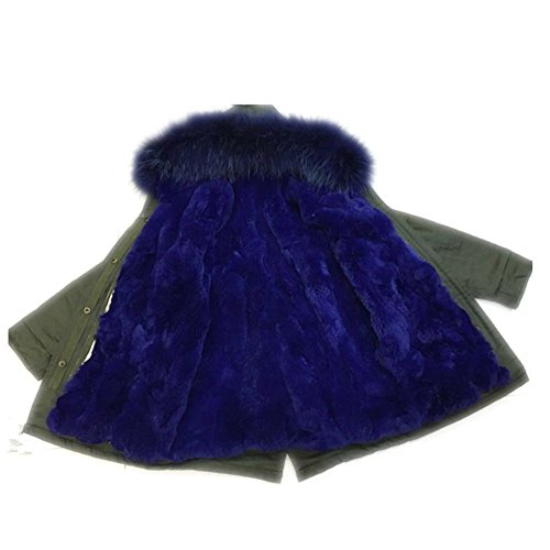 Big Chill Big Girls' Long Expedition Jacket baby real fur coat (6-8 years old, blue) by Gegefur