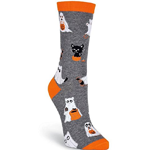 K. Bell Socks Women's Novelty Halloween Crew, Charcoal Heather Cat and Dog Ghosts, 9-11