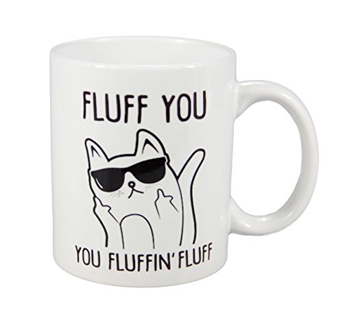 Natural art - Fluff You You Fluffin' Fluff Cat with Sunglass Middle Finger Funny Ceramic Coffee Mug Teacup 11oz - Make Sun How To Glasses