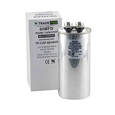 80 mfd Capacitor, Industrial Grade Replacement for Central Air-Conditioners, Heat Pumps, Condensers, and Compressors. Round Multi-Purpose 370/440 Volt - by Trade Pro