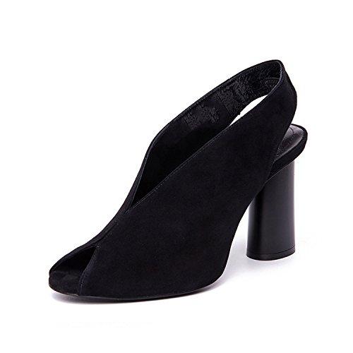 Sky-Pegasus 2018 High Heels Shoes Woman Office Gladiator Sandals Summer Pink Black Size 35-40,Black,5,China