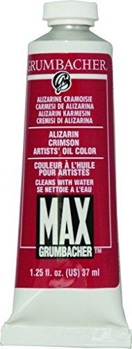 Grumbacher Max Water Miscible Oil Paint, 37ml/1.25 oz, Alizarin - Grumbacher Water Max