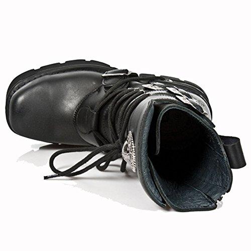 New S1 Herren Schwarz M MT stiefel Rock 373 Leder Toe Schwarz Metall avawxS