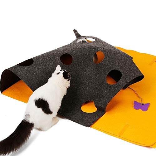 LISICK Cat Exercise Wheel Cat Activity Play Mat-Pets Toy Mat Interactive Play for Kitten and Behavioral Training Bed Mats