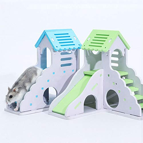 Aoile Pet Small Animal Hideout Hamster Hedgehog Guinea Pig House Two Layers Wooden Villa Exercise Play Toys with Ladder (Blue,Small Building with Ladder) from Aoile