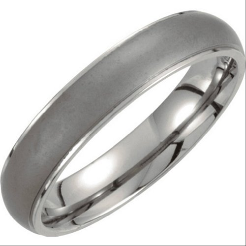 Titanium and Satin Grey 5mm Comfort Fit Oxidized Dome Band Size 12 by The Men's Jewelry Store