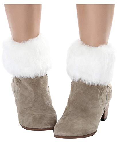 ELLITE Women's Winter Faux Fur Boot Cuff Knitting Leg Warmers Short-WHITE (Boot Fur Sleeve Faux)