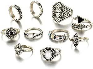 BESTPICKS 10 قطع الأزياء ورقة حجر خواتم خمر كريستال أوبال المفاصل مجوهرات هدية للنساء