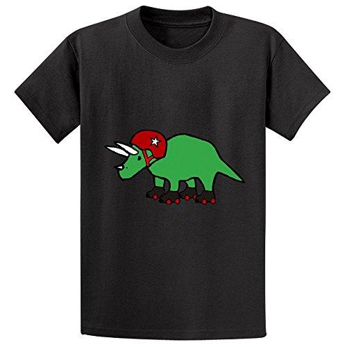 unicorn-roller-derby-triceratops-girls-cotton-crew-neck-t-shirt-black