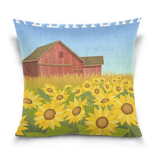 SUABO Throw Pillow Cover 20 X 20 inch Cushion Cover with Nebraska Sunflowers Field with Red Barn Printed ()