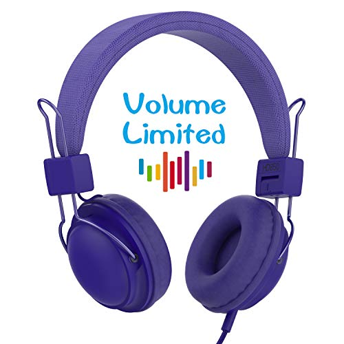 AILIHEN HD850 Kids Headphones Mic&Music Sharing Port, Volume Limited On-Ear Wired Headset Boys Girls Teens Children Toddler(Navy Blue)