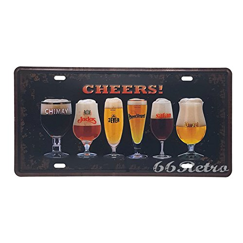 66Retro Beer Cheers!, Embossed Vintage Tin Sign, Retro Auto License Plate, 30cm x 15cm