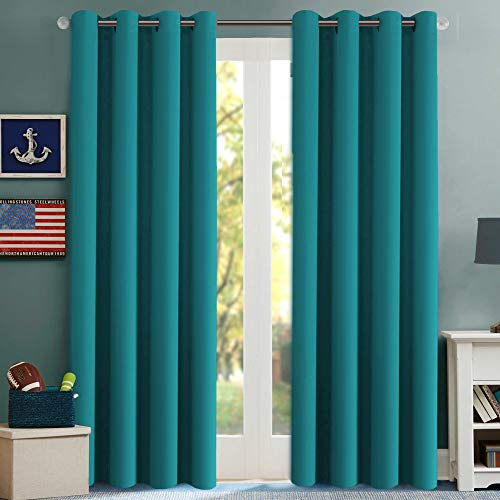 H.VERSAILTEX Thermal Insulated Blackout Curtains Innovated Microfiber Formaldehyde-Free Window Panels for Nursery, Grommet,52 by 84 - Inch - Turquoise Blue - Set of 2 (Turquoise Curtains Drapes)