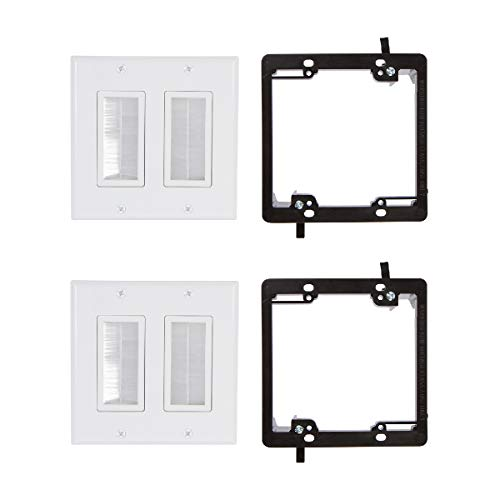 Buyers Point Dual Brush Wall Plate [UL Listed] (2, White Kit)
