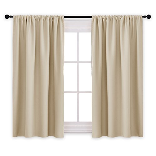PONY DANCE Kitchen Beige Curtains - Home Decoration Room Darkening Thermal Insulated Blackout Window Treatments/Draperies Block Light Protect Privacy, 42