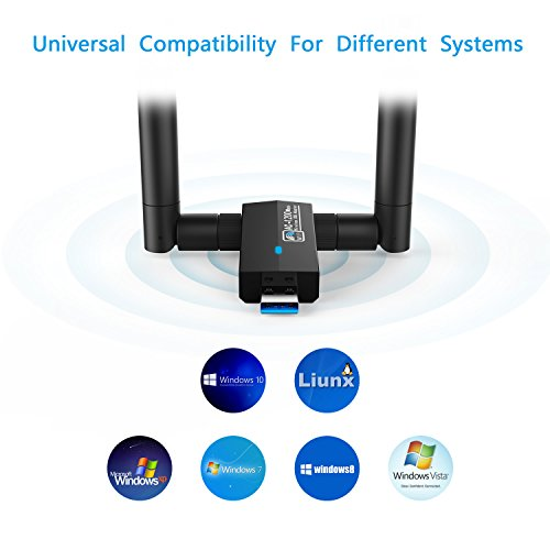 Nuoshawan 1200Mbps Long Range USB WiFi Adapter;Dual-Band 2 X 5dBi Wi-Fi Antennas with 5GHz 867Mbps/2.4GHz 300Mbps; USB 3.0, Compatible with Laptop PC Windows 10/8.1/8/7/XP and OS X (AC1200MBPS) by Nuoshawan (Image #2)