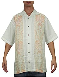 Tommy Bahama Mens Button Down Short Sleeve Linen Camp Shirt L Beige