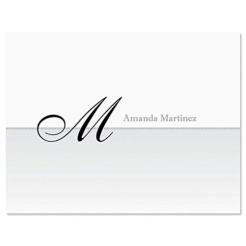 Juliet Initial Personalized Note Card Set - - 24 cards with white envelopes, 4-1/4