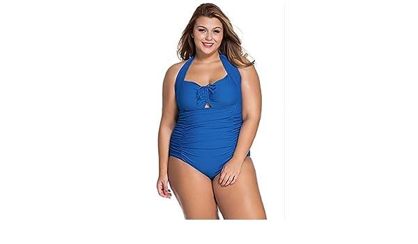 LX&OOSM Bikini De Las Mujeres Halter Neck Más El Tamaño De Una Pieza Del Traje De Baño Floral Beachwear L-4XL,Blue,XXL: Amazon.es: Deportes y aire libre