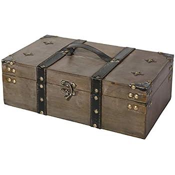 Soul & Lane Winchester Wooden Storage Chest Trunk | Decorative Treasure Stash Box